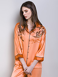 Freeshare 100% Silk Women Orange Pajamas of 2015 New Style  Nighties of Heavy Silk Fabric
