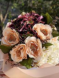 Champagne Wedding Bouquet Silk Cloth Wedding Bride Holding Flowers