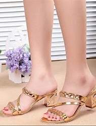 Women's Shoes Chunky Heel Peep Toe Sandals Dress Silver/Gold