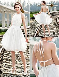 Lanting A-line/Princess Plus Sizes Wedding Dress - Ivory Knee-length Halter Chiffon