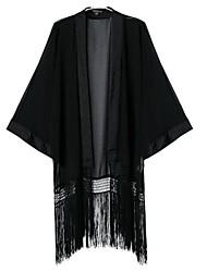 Women's Casual Tassels Batwing Kimono Long Chiffon Coat