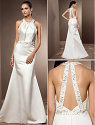 Trumpet/Mermaid Plus Sizes Wedding Dress - Ivory Sweep/Brush Train Jewel Satin