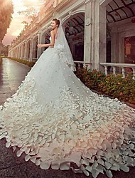 A-line Princess Strapless Cathedral Train Satin Tulle Wedding Dress with Beading