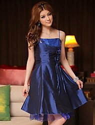 Knee-length Satin Bridesmaid Dress - Royal Blue/Black/Purple A-line/Princess Spaghetti Straps