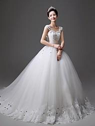Princess Chapel Train Wedding Dress -Straps Tulle