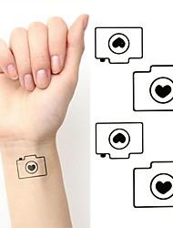 Cartoon Camera Love Tattoo Stickers Temporary Tattoos(1 pc)
