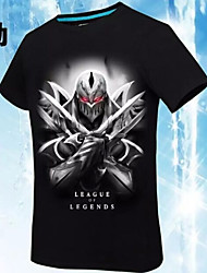 Inspired by League of Legends Yuna Video Game Cosplay Costumes Cosplay T-shirt Print / Geometric Black Short Sleeve T-shirt