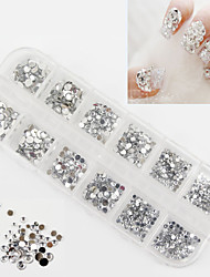 2500Pcs 3 Sizes Of Round White Acrylic Diamond Nail Art Decoration