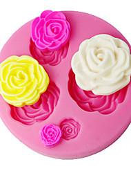 FOUR-C Fondant Decorating Mould 3D Rose Cake Decorating Supplies Color Pink SM-018