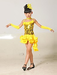 Latin Dance Children's Polyester/Lycra Sequins Tassel Outfit(Red/Black/Blue/Yellow) Kids Dance Costumes