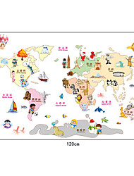Cartoon Children Like World Map PVC Wall Stickers