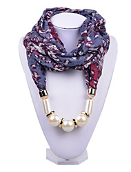 D Exceed  Women Blue Scarf Necklace Personality  Floral Printing Chiffon Wraps with Pearl Beads Pendant Scarves