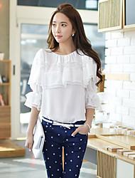 Dun - Informeel/Kant/Zakelijk Rond/Shawl - VROUWEN - Topjes en bloesjes ( Polyester )met ¾ Mouw