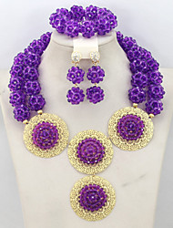 Costume African Beads Jewelry Set Indian Nigerian Bridal Jewelry Set Crystal Beads Balls Jewerly Set