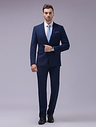 Suits Tailored Fit Slim Notch Two-Button Cotton/Polyester Solid 2 Pieces Navy Blue