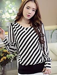 Women's Chiffon Striped Long Sleeved Blouse