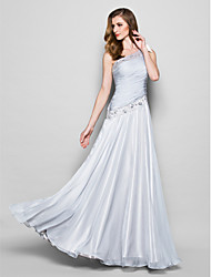 A-line Mother of the Bride Dress - Silver Floor-length Sleeveless Chiffon