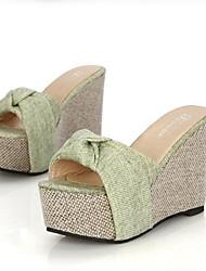 Women's Shoes Wedge Heel Peep Toe Sandals Dress Green/ Beige