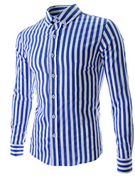 Men's Striped Casual Shirt Long Sleeve Black / Blue / Orange