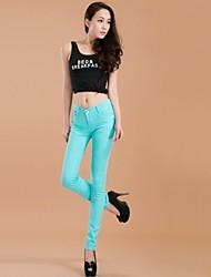 bodycon casuales pantalones vaqueros medianas pantalones micro-elástico de las mujeres (denim)