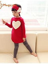Girl's Spring Autumn Long Sleeve Heart One Piece Dresses + Leggings + Hairband 3pcs Sets(Cotton)