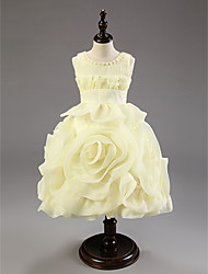 Ball Gown Knee-length Flower Girl Dress - Cotton/Organza Sleeveless