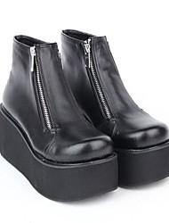 negro de plataforma de 8 cm de cuero de la PU de los zapatos dulce lolita