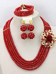 Wedding Crystal Beads Jewelry Set African Lady Beads Jewelry Set Bridesmaid Jewelry Set