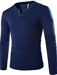 Men's  V Neck Casual Pure Long Sleeve T-Shirts