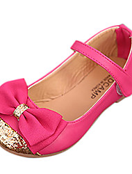 Girl's Spring / Summer / Fall Round Toe Leatherette Casual Flat Heel Bowknot Blue / Pink / Beige