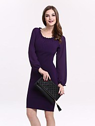 TS Vintage Bodycon Work Stretchy Long Sleeve Above Knee Dress (Others Microfiber)