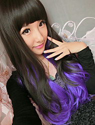 New Harajuku Anime Black Gradient Purple Long Curly Hair Wig