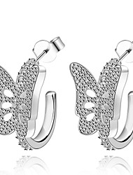 lureme® Fashion Style Silver Plated With Zircon Butterfly Shaped Stud Earrings