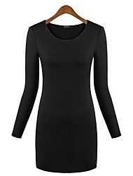Women's Sexy Inelastic Long Sleeve Above Knee Dress (Cotton Blends)