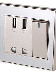 AC Power Socket & Switch Control & Dual-USB Socket Wall Panel (US Plug)