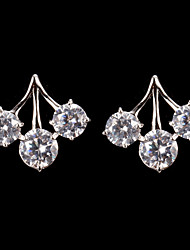 Silver Alloy With Cubic Zirconia Stud Earrings