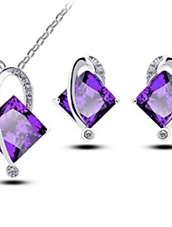 Women's Purple Zircon Jewelry Sets Square Handmade Jewelry Sets