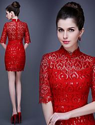 Prom/Date Dress Sheath/Column High Neck Short/Mini Lace Dress