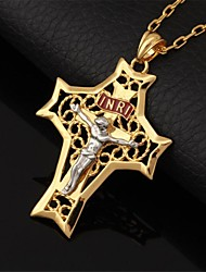 U7® Crucifix Cool Big Size INRI Cross Pendant Choker Necklace for Men Hollow 18K Gold Plated Fashion Jewelry