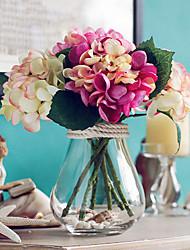 mistos três hortênsias coloridas flores artificiais com vaso