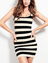Jimi Women's Sexy Slim Thin Round Collar Stripes Sleeveless Vest Dress