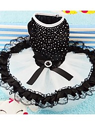 Dog Dress / Clothes/Clothing Black Summer Crystal/Rhinestone Wedding