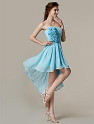 Asymmetrical Chiffon Bridesmaid Dress - Sky Blue A-line Strapless