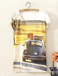 Damen Blumen Sexy Ausgehen T-shirt,Rundhalsausschnitt Alle Saisons Kurzarm Mehrfarbig Baumwolle Mittel
