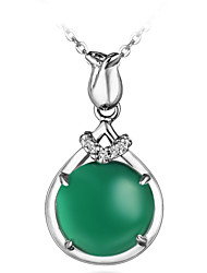 Fashion Shining Ladies' Silver Necklace with Green Onyx & Clear Crystal