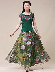 Women's Green Skirts , Print Maxi