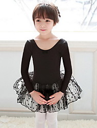 Ballet Dresses Children's Performance Cotton / Tulle Cascading Ruffle / Polka Dots 1 Piece Black / Pink