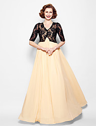 Lanting Bride® A-line Plus Size / Petite Mother of the Bride Dress - Wrap Included Floor-length Half Sleeve Chiffon / Lace with Lace