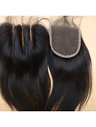 """brésiliens vierges morceaux de cheveux couleur de cheveux naturelle dentelle fermeture 3,5 """"x4"""" droite 3 1pc partie naturelle de 18 """""""