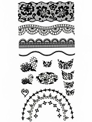 1PC 3D Black Nail Art Stickers Lace Nail Wraps Nail Decals Moon Heart Nail Polish Decorations